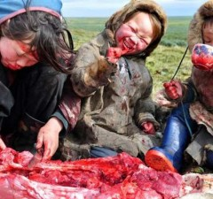 Mongolian kids eating healthy paleo diet