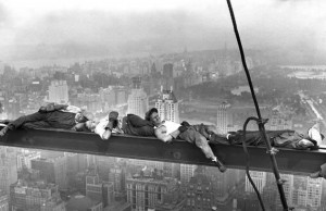 men working at dangerous heights