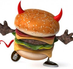 cholesterol food -devil hamburger