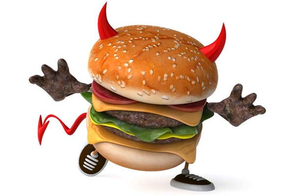 cholesterol food -devil hamburger