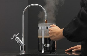 coffee coming from the kitchen tap